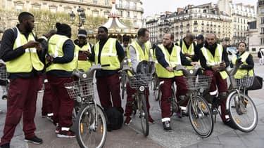 Les employés de Cyclocity lors d'une manifestation à Paris en avril dernier.