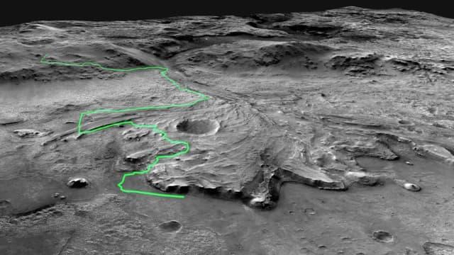 L'un des trajets envisagés par la Nasa pour le rover Perseverance sur Mars, dans le cratère de Jezero dont les scientifiques pensent qu'il contenait autrefois un lac