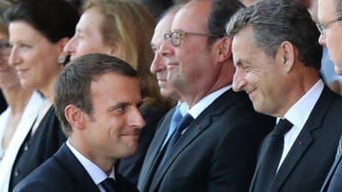 Emmanuel Macron, Nicolas Sarkozy et François Hollande lors des commémorations de l'attentat de Nice, le 14 juillet 2017.