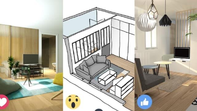 monmaitrecarre.com permet d'obtenir 3 projets d'aménagement pour son appartement ou son bureau, pour 25 euros du mètre carré.