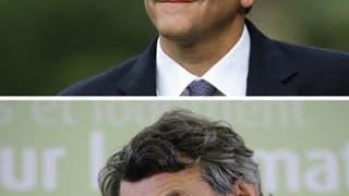 Hervé Morin (en haut), président du Nouveau Centre et Jean-Louis Borloo son homologue du Parti radical. Les futurs partenaires de la Confédération des centres ont affirmé samedi leur volonté d'être présents aux échéances électorales de 2012 avec un projet