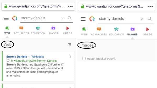 Qwant Junior modère les images faisant référence à Stormy Daniels mais laisse apparaître des liens vers des articles de presse