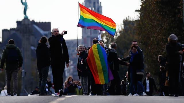 Une manifestation à Rouen après une agression homophobe, le 3 novembre 2018.