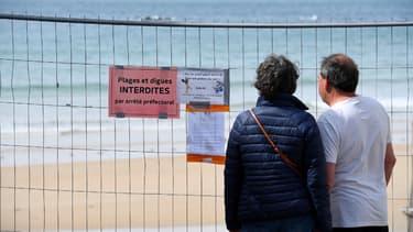 La plage de Saint-Malo, fermée au public, le 4 mai 2020.