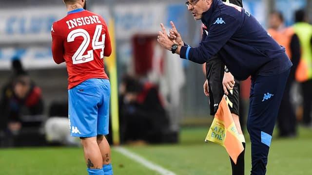 Lorenzo Insigne et Maurizio Sarri