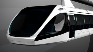 Le train monorail suspendu prévoit la circulation de navettes propulsées par des moteurs-roues pouvant transporter jusqu'à 70 passagers à 250 km/h sur un rail situé à environ 12 mètres du sol.