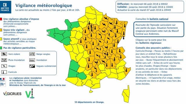 Les départements touchés par la vigilance orange pour cause de canicule et d'orages
