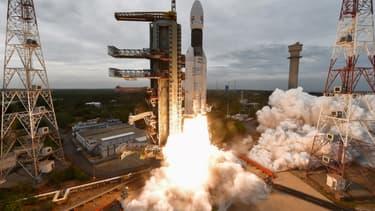 Décollage de la mission Chandrayaan-2, le 22 juillet 2019, en Inde