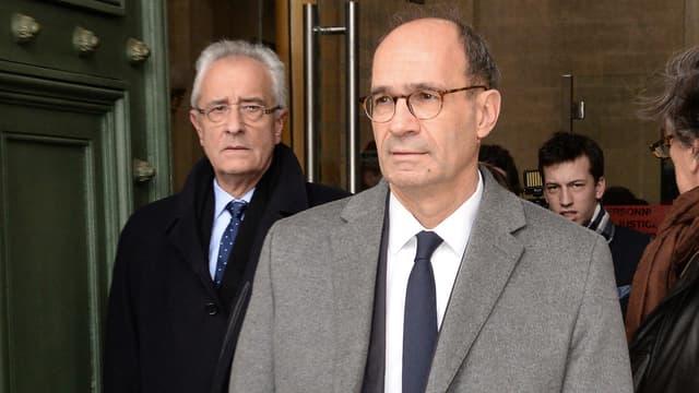 Me Jean-Yves Le Borgne et son client, Eric Woerth, au tribunal correctionnel de Bordeaux.