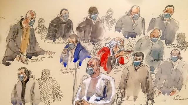 Les 11 accusés présents au procès des attentats de janvier 2015, le 14 décembre 2020 au tribunal judiciaire de Paris.