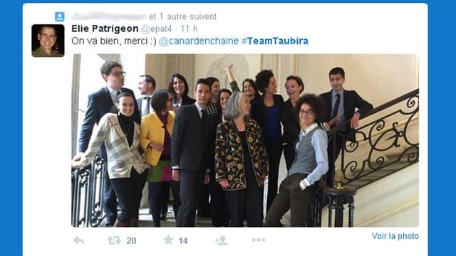 Elie Patrigeon, conseiller parlementaire de Christiane Taubira, a posté cette photo sur Twitter.