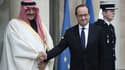 François Hollande et le prince héritier d'Arabie saoudite, Mohammed ben Nayef, le 4 mars 2016, à l'Elysée.