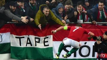 L'équipe de Hongrie en match amical face à la Croatie.