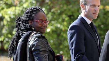 Sibeth Ndiaye aux côtés d'Emmanuel Macron le 4 octobre 2018 à Colombey-les-Deux-Églises.