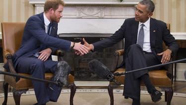 Le prince Harry et Barack Obama à la Maison-Blanche en 2015.