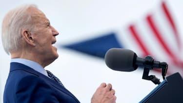 Joe Biden lors d'un rassemblement à Duluth le 29 avril 2021