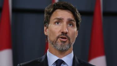 Justin Trudeau lors d'une conférence de presse, le 17 janvier 2020