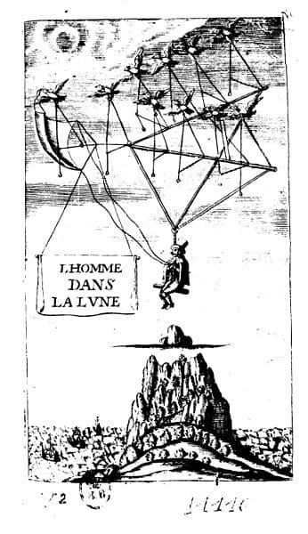 Illustration de L'Homme dans la Lune, de Francis Godwin, traduit  en 1648 par Jean Baudoin.