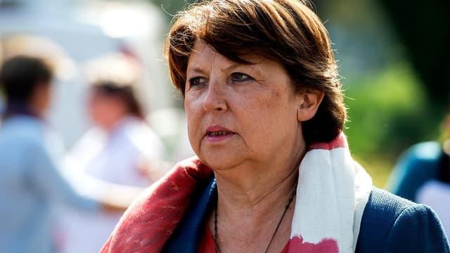 Martine Aubry lors d'un meeting du Parti socialiste à Lomme, dans le Nord, le 13 september 2014.