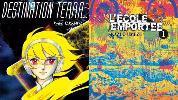 """Les couvertures des premiers de """"Destination Terra"""" et """"L'Ecole emportée"""""""