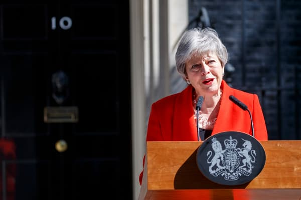 Theresa May annonçant sa démission le 24 mai 2019