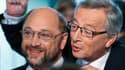 Martin Schulz (à gauche) et Jean-Claude Juncker (à droite) plaident tous les deux pour une croissance qui ne nuit pas à la disciplien budgétaire.