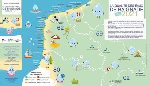 La carte annuelle de la qualité des eaux de baignade dans les Hauts-de-France.