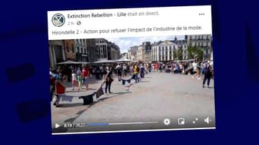 Une trentaine de militants d'Extinction Rebellion réunis à Lille pour dénoncer la Fast Fashion ce samedi 18 juillet