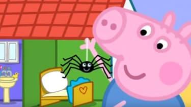 """Dans l'épisode """"Mr Skinny legs"""", Peppa Pig et son frère deviennent amis avec une araignée."""