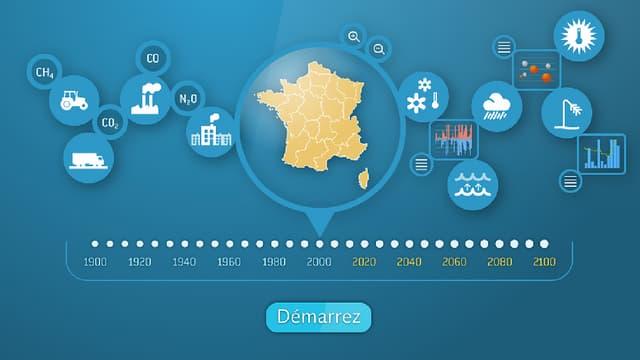 Avec son application, Météo-France permet à l'utilisateur de voyager dans le temps, de 1900 à 2100.