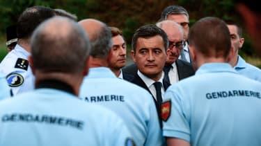 Gérald Darmanin en visite à la gendarmerie de Port-Sainte-Marie, le 7 juillet 2020.