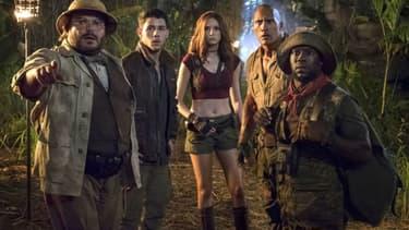 "Dwayne Johnson, Jack Black, Karen Gillan, Kevin Hart et Nick Jonas dans ""Jumanji: ""Bienvenue dans la jungle"""