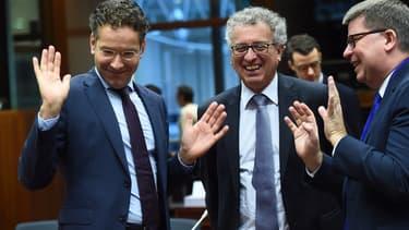 Jeroen Dijsselbloem (à gauche) apprécie les efforts de la Grèce.