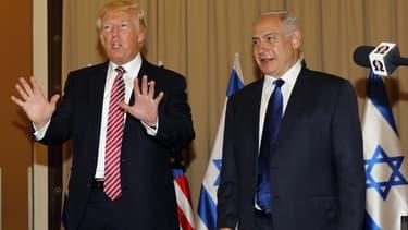 Donald Trump et Benjamin Netanyahu lors d'un point presse, en mai 2017, à Jérusalem.
