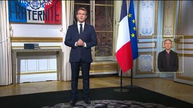 Emmanuel Macron lors de ses voeux 2019 enregistrés à l'Elysée.