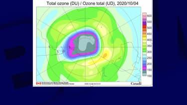 Image du trou de la couche d'ozone, datée du 4 octobre 2020.