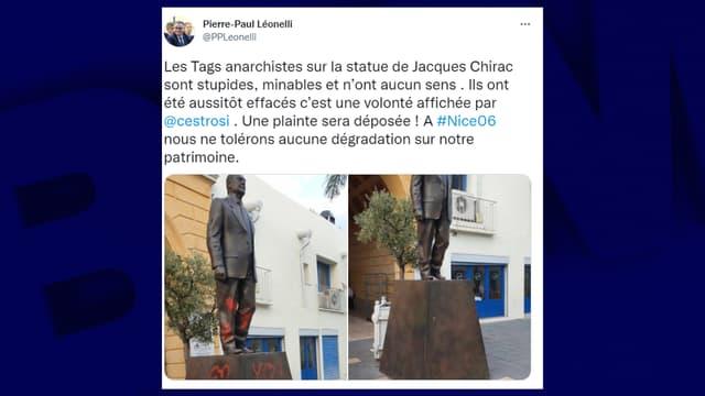 La statue de Jacques Chirac à Nice, une nouvelle fois dégradée.