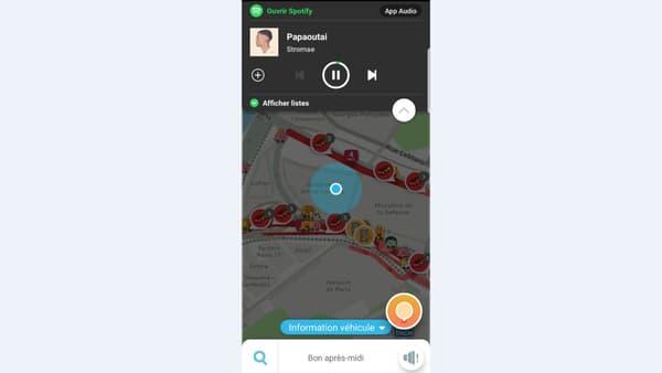 L'intégration de Spotify dans Waze.