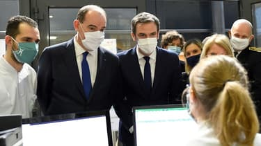 Jean Castex et Olivier Véran à l'hôpital de Metz le 14 janvier 2021