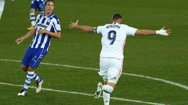 Karim Benzema lors du match Alaves-Real, le 23 janvier 2021