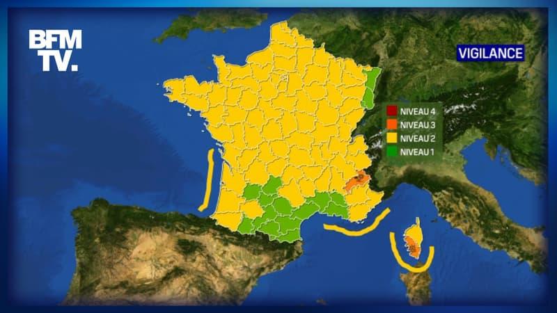 Les Hautes-Alpes en vigilance neige-verglas, la Corse-du-Sud en alerte orages et pluie-inondation