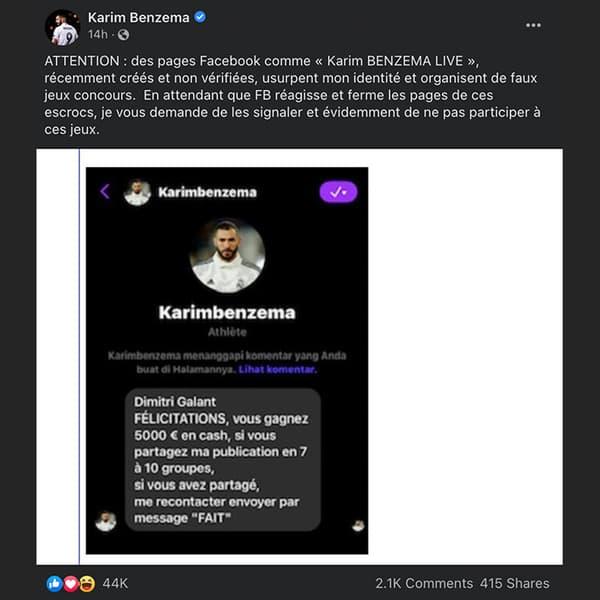 Publication de la page Facebook officielle de Karim Benzema
