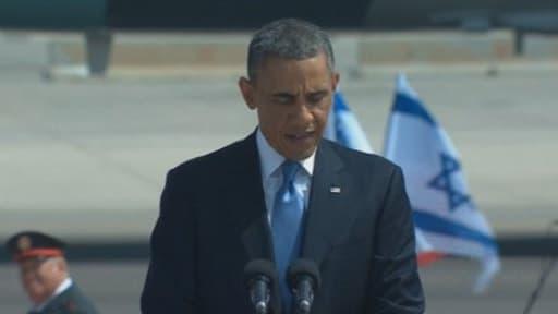 Barack Obama sur le tarmac de l'aéroport de Tel-Aviv en Israël le 20 mars 2013