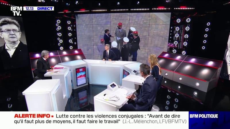 Jean-Luc Mélenchon sur la tribune des militaires: