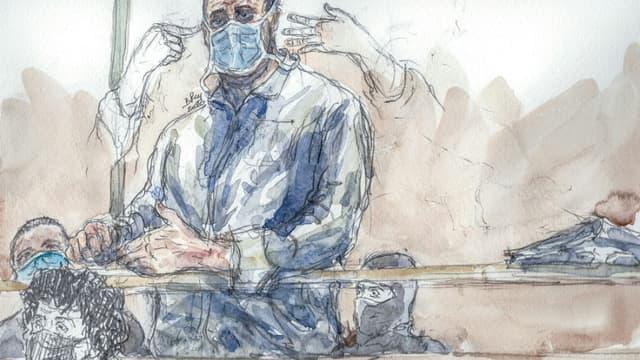 Croquis d'audience du principal accusé des attentats e janvier 2015 Ali Riza Polat, et de son avocate Me Isabelle Coutant-Peyre (g), le 26 octobre 2020 au tribunal de Paris