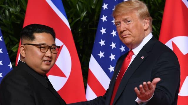 Kim Jong Un et Donald Trump lors de leur rencontre à Singapour, le 12 juin 2018