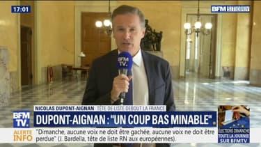 """""""On en a ras-le-bol de ce duel minable"""" Nicolas Dupont-Aignan dénonce l'appel au """"vote utile"""" de Jordan Bardella"""