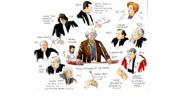 L'art de la synthèse: une journée d'audience du procès Papon en un seul dessin.
