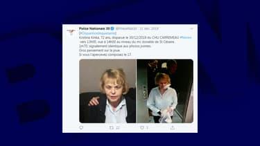 Appel à témoin lancé par la police nationale du Gard pour une septuagénaire disparue au CHU de Nîmes, le 30 décembre 2019.
