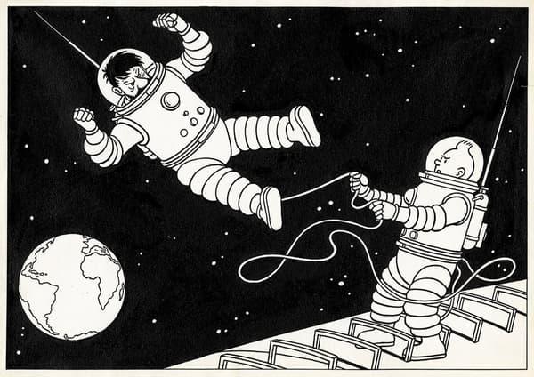 Un dessin de Tintin et du capitaine Haddock dans l'espace, par Hergé (1952)